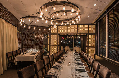 back bay room with two long tables - Private Dining Room Boston